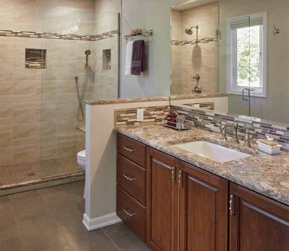 bathroom vanity and shower
