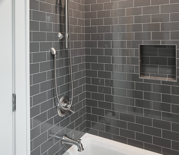 shower and tub with tile