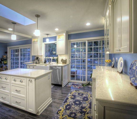 Kitchen with view of back doors