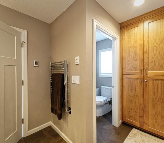 bathroom door & cabinets