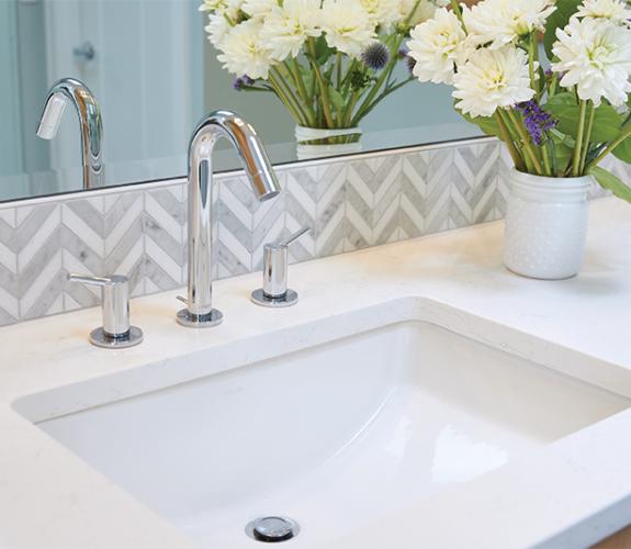 bathroom sink & backsplash close up